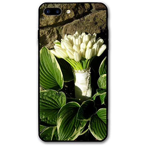 Tulips White Bouquet Stones Leaves iPhone 7/8 Plus Case Enhanced Grip Premium Scratch Resistant Protective Cases