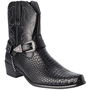 Alberto Fellini Western Style Cowboy Boots Black New Upgrade primum PU-Leather Shoes Size 8.5