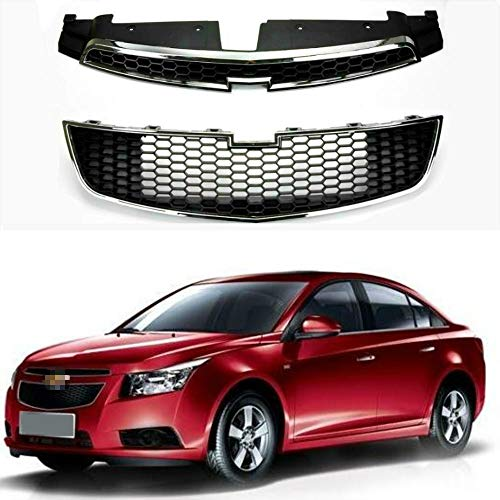 MotorFansClub Front Grill Center Upper Lower Grille for Chevrolet Cruze 2009-2014 Black with Chrome (US Stock)