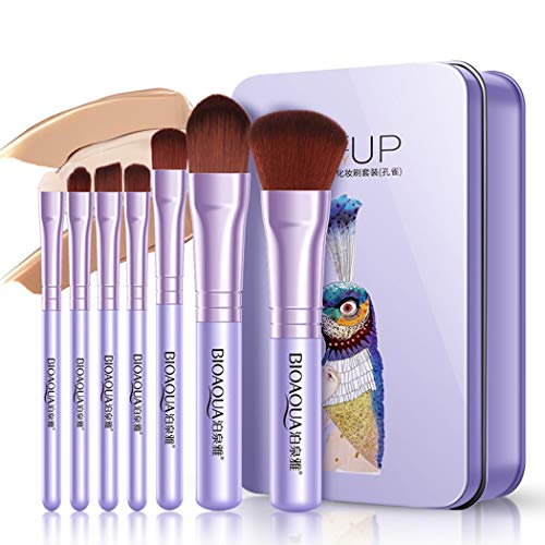 GothicBride Makeup Brushes Set Elegant Purple Premium Makeup Brush Set Synthetic Foundation Powder Concealers Eye Shadows Kabuki Travel Foundation 7Pcs Brush Sets