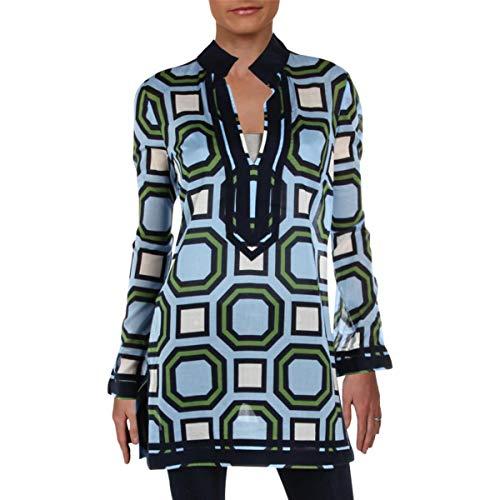 - Tory Burch Womens Printed Long Sleeves Tunic Top Blue S