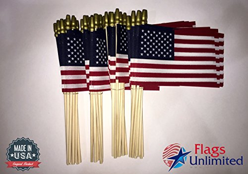Lot of 48 4x6 Inch US American Hand Held Stick Flags Spear T