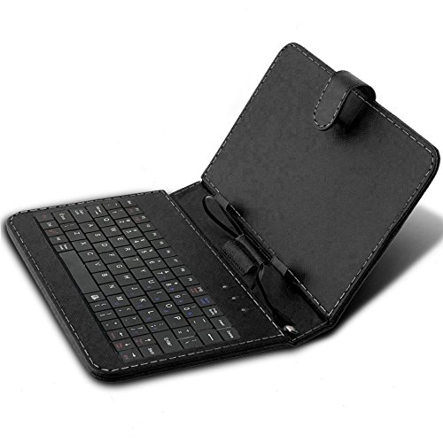 """ONX3 iBall Slide Snap 4G2 7"""" (Black) Ultra-Slim Adjustable Tablet Case QWERTY Keyboard Stand Cover for Android Tablet with Micro USB Connection"""