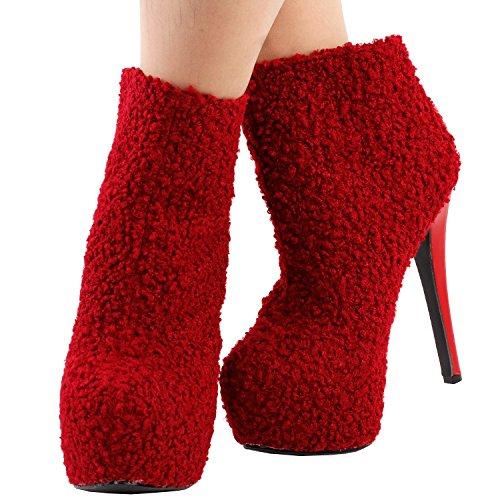 Mostrano La Storia Delle Donne Eleganti Stivali Stiletto Della Piattaforma Della Caviglia Bootie Nascosti, Lf80856 Rosso