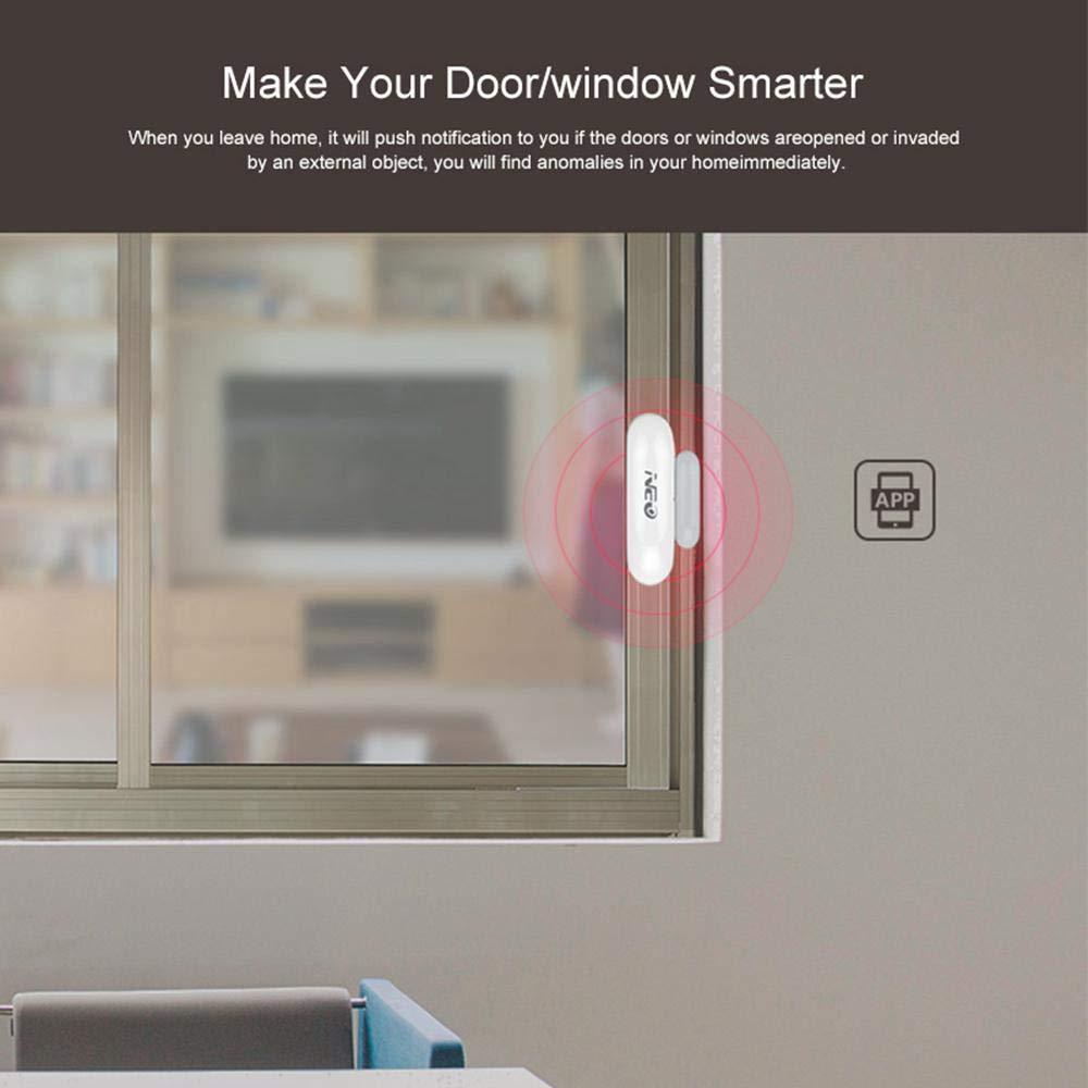 leegoal WiFi T/ür- Fenstersensoren WiFi Plus Mini-Gr/ö/ße Smart Home Automation Sicherheit Benachrichtigungserinnerung f/ür drahtlose T/ür- magnetisch Fenstersensor