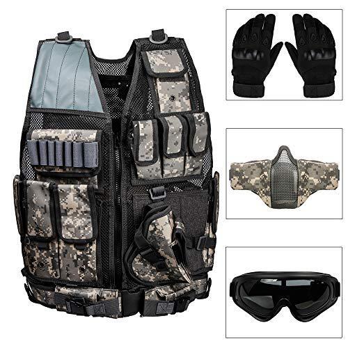 REAMIC Tactical CS Field Vest Chaleco de Entrenamiento de Combate Hombres Dedo Completo Deportes al Aire Libre Trabajando...