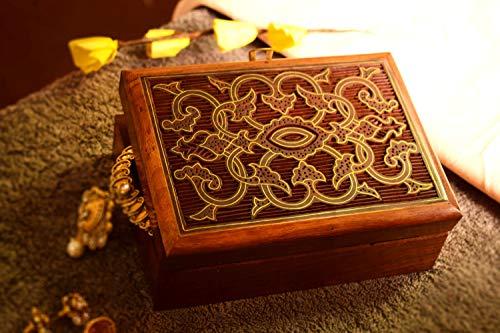 Hashcart Indian Artisan, Handmade & Handcrafted Wooden Jewelry Box/Jewelry Storage Organizer Jewelry Box with Traditional Design and Brass Inlay Work