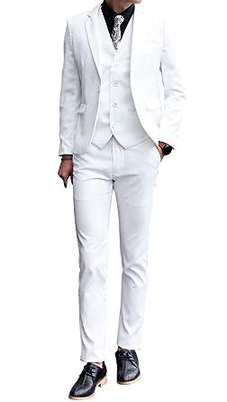 Frank Hombre Traje Blanco Slim Fit Trajes de Novio Casual de ...