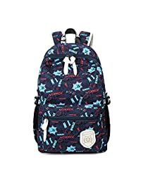 """Artone Letter Big Capacity Backpack School Daypack With Laptop Compartment Fit 15"""" Notebook Deep Blue"""