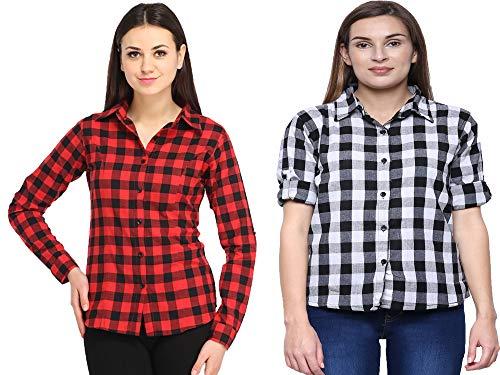 DAMEN MODE Women White & Red & Black Checkered Shirt Combo Set