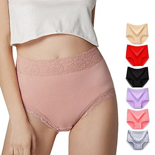 Lady Cotton Panties Underwear, Lace Seamless Underwear Soft Comfortable Panties Briefs For Women Breathable Waist Lingerie Hipster 6 Pack