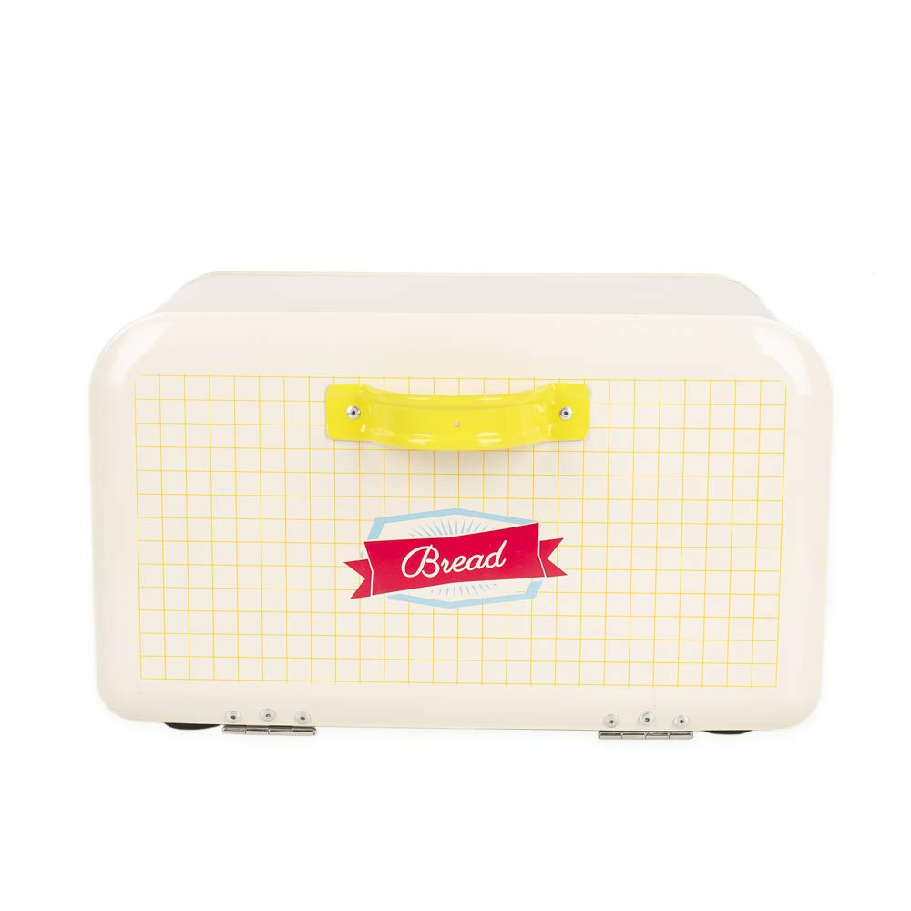 Hot Sale X742 rectangle Metal Cream white Bread Box/Bin/kitchen Storage Containers