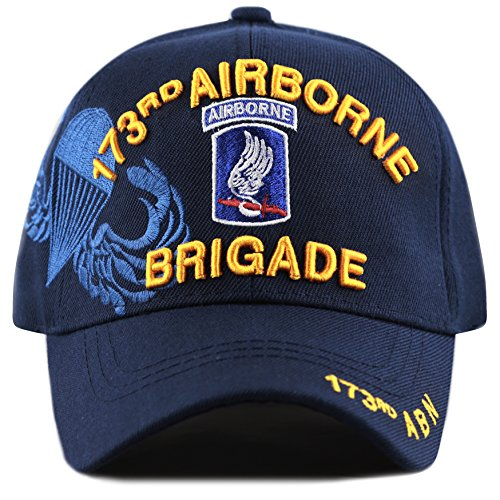 THE HAT DEPOT Official Licensed Airborne 3D Baseball Cap (Navy-173rd)