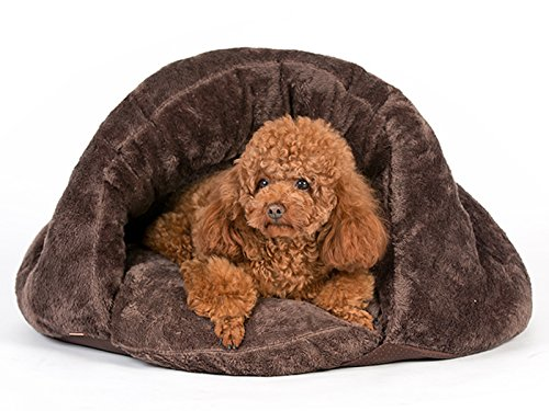 Italian Greyhound Puppies - PLS Pet Cuddle Pouch Pet Bed (Medium), Bag, Covered Hooded Pet Bed Igloo-Shaped Lounger, Cosy, for Burrower Cats and Puppies, Brown