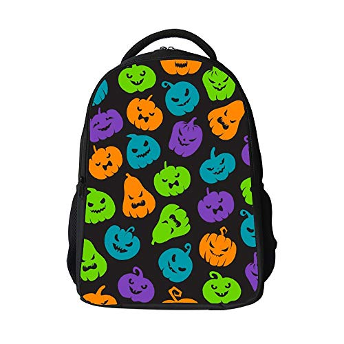 SARA NELL Halloween Pumpkins Pattern Scary Jack School Backpack with Padded Straps 3D Student Stylish Unisex Daypack for Boys Girls School Book Bags]()