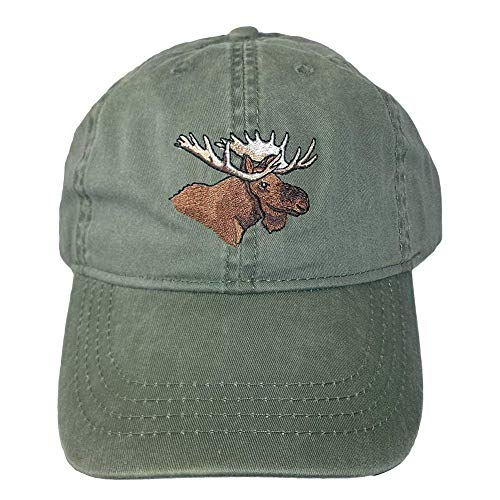 ECO Wear Embroidered Bull Moose Wildlife Baseball Cap, Khaki Green, Adjustable - One Size Fits All -