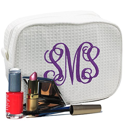 Personalized Makeup Bag - Bridesmaid Gift Make Up Cosmetic Case - Monogrammed and Embroidered for Free (White)