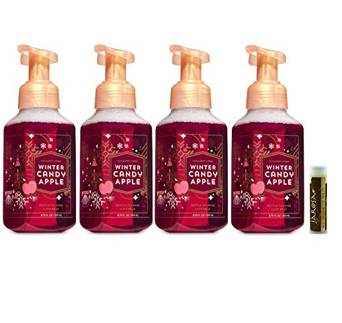 WINTER CANDY APPLE Bath & Body Works Gentle Foaming Hand Soap Pack of 4 with a Jarosa Bee Organic Chocolate Bliss Lip Balm