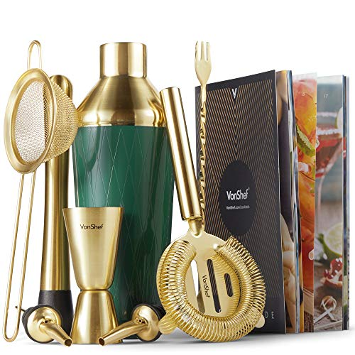 VonShef Green & Gold Cocktail Shaker Set in Gift Box with 16oz Shaker, Muddler, Bar Spoon, Jigger, Hawthorne Strainer, Julep Strainer, Bottle Pourer and Recipe Book
