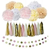 Furuix 20pcs White Ivory/Cream Pink Tan Party Decorations Kit With Tissue Paper Pom Poms Tissue Paper Flowers Polka Dot Garland Glitter Tassel Garland Circle Garland Paper Craft Supplies for Rustic Wedding Bridal Baby Shower Girl Decorations, Birthday Party Nursery Decorations