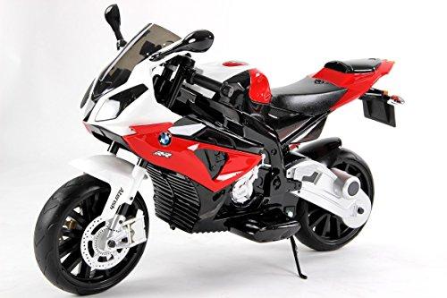BMW S 1000 RR Original Lizensiert Motorrad für Kinder, EVA räder, Metallrahmen, Zündschlüssel, 2x Motor, 12 V Batterie, abnehmbare Hilfsräder