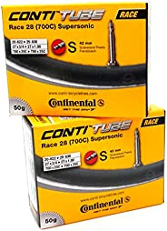 Continental Race 28 Supersonic 700 x 20-25cc Bike Tubes - 42mm Presta Valve - Pair (2 Tubes)