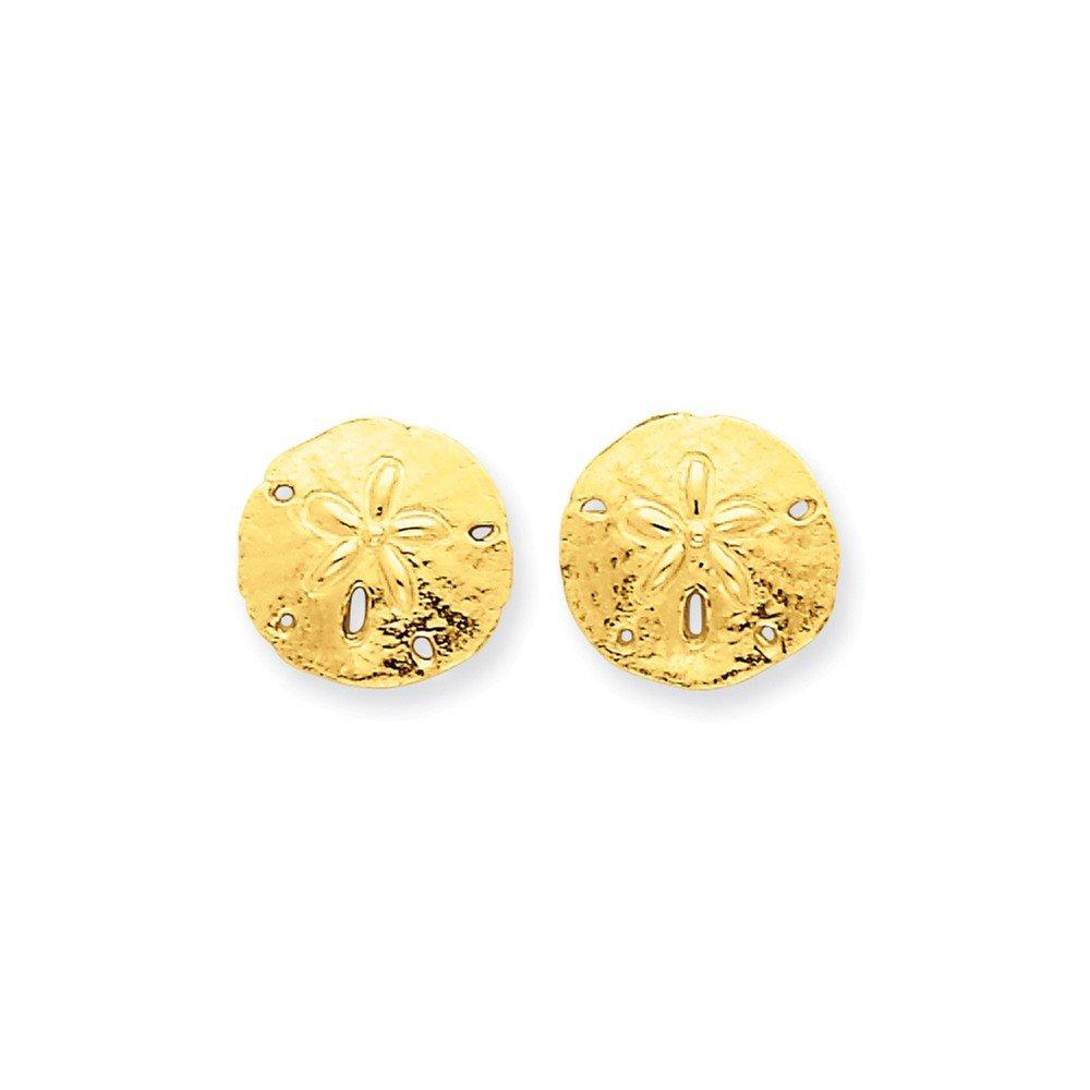 14k Yellow Gold Sand Dollar Post Earrings 12x12 mm