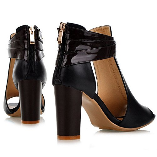 High Women Sandals COOLCEPT Heels Peep Fashion Leather Geniune Block Toe Black Shoes Pumps Bootie Aadwvtwqx