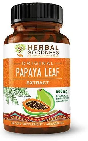 Papaya Leaf Extract – SuperFruit Natural Blood Platelet Boost, Bone Marrow Support, Immune Gut Digestive Enzymes Health – 10 1 Strength – 60 600mg Veggie Capsules – Made in USA by Herbal Goodness