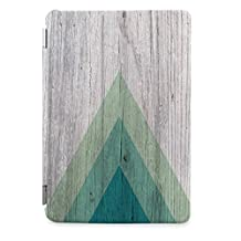 Apple iPad Air 2 Case, CasesByLorraine Geometric Wood Print Green Triangle Smart Cover for iPad Air 2 with auto Sleep & Wake function - S01