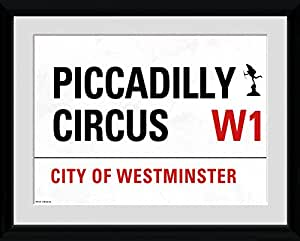 GB eye PFC149 London, Piccadilly Circus Street Sign, Framed Photographic Print, 30 X 40cm