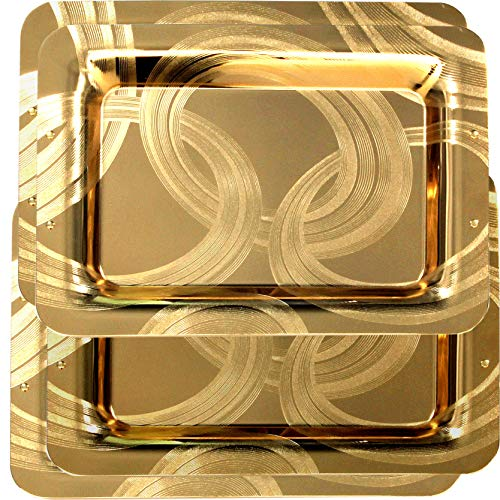 Maro Megastore (Pack of 4) 18.5-Inch x 13-Inch Modern Rectangular Iron Gold Plated Serving Tray Ribbon Edge Engraved Decorative Holiday Wedding Birthday Buffet Party Snack Platter 2373 L Tla-080