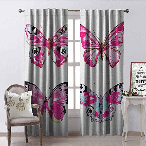 (GloriaJohnson Watercolor Heat Insulation Curtain Set of Artistic Butterflies Spring Nature Wildlife Insects Vintage for Living Room or Bedroom W52 x L84 Inch Pink Baby Blue Black)