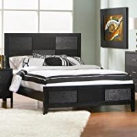 Grove Collection Queen Black Bed Heaboard Footboard Rails