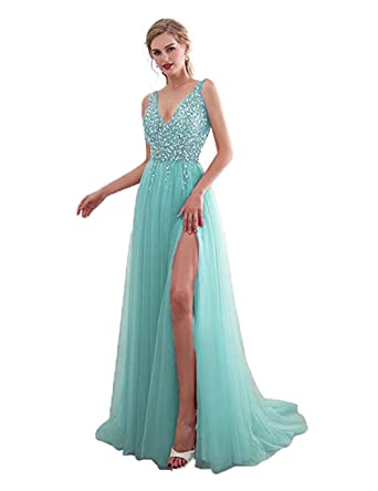 57c9e32790829 Henglizh Sexy Beaded Long Prom Dresses 2018 Deep V-Neck Slit Tulle  Homecoming Evening Dress