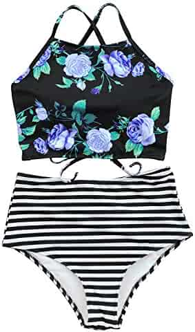 bdb5a6e916 CUPSHE Women's Leaves Printing High Waisted Bikini Set Tankini Swimwear