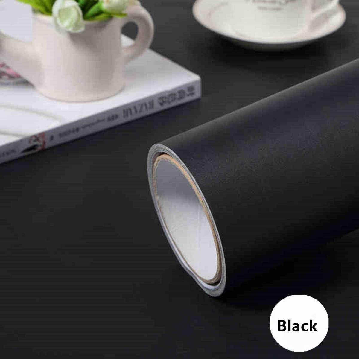 """practicalWs (15.7"""" x118"""") Black Wallpaper Self Adhesive and Removable Peel and Stick Vinyl Film Stick Paper Easy to Apply Wall Coverings Shelf Home Decorative Liner Table and Door Reform"""