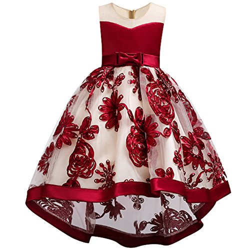 WEONEDREAM Flower Dresses for Teenage Girls Birthday Party Casual Holiday Prom Princess Ball Gowns Size of Age of 8-9 Years Old Teen Fashion Beauty (Red 140) -