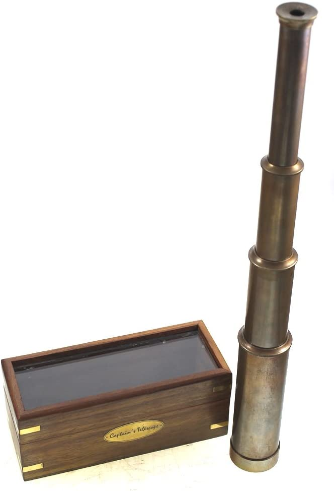 "BR48528B Antiqued Brass 15/"" Captains Telescope with box"