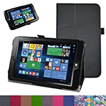 "Insignia NS-P08W7100 Case,Mama Mouth PU Leather Folio 2-folding Stand Cover with Stylus Holder for 8"" Insignia Flex NS-P08W7100 Windows 10 Tablet 2016,Black"