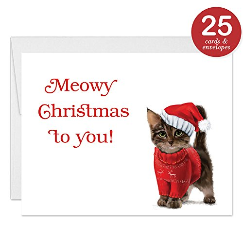 Amazon festive kitty christmas cards with envelopes set of 25 festive kitty christmas cards with envelopes set of 25 funny whimsical holiday greetings to m4hsunfo