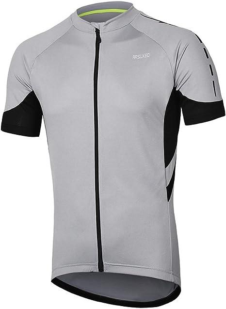 ARSUXEO Manga Corta Ciclismo, Camisa de Bicicletas 636 para los Hombres EEUUL Gris Claro: Amazon.es: Deportes y aire libre