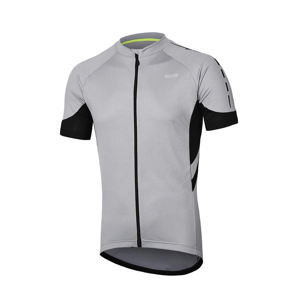 Arsuxeoメンズ半袖サイクリングジャージー自転車MTBバイクシャツ636 B07C81HJDJ US L|ライトグレー ライトグレー US L