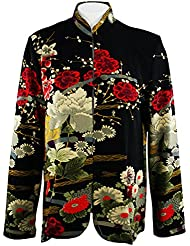 Moonlight - Asian Garden, Black & Red Asian Themed Long Sleeve Jacket