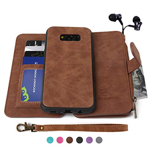 Galaxy S8 Case, Modos Logicos [Detachable Wallet Folio][2 in 1][Zipper Cash Storage][Up to 14 Card Slots 1 Photo Window] Premium PU Leather Purse Clutch with Removable Inner Magnetic TPU Case - Brown ()