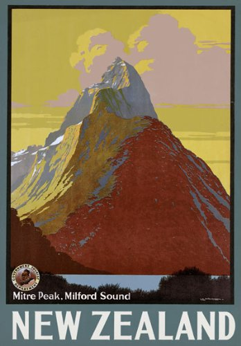 VINTAGE NEW ZEALAND QUEENSTOWN TRAVEL A4 POSTER PRINT