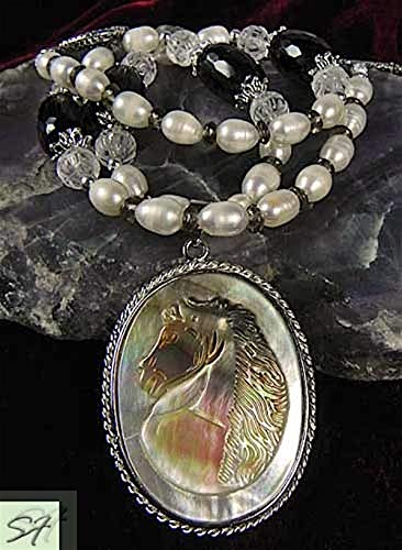 Carved cameo Horse pendant with freshwater pearls carved rock-crystal and smoky quartz necklace