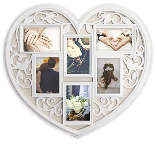 Joice Gift White Wall Large Hanging Heart Shape Collage Picture Frame 6 Opening 4