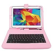 """DURAGADGET Etui rose et clavier intégré AZERTY (français) pour tablettes Samsung Galaxy Tab 4 10.1"""" SM-T530 et SM-T533 (Wi-FI 2015) aspect cuir + stylet tactile BONUS - Garantie 2 ans"""
