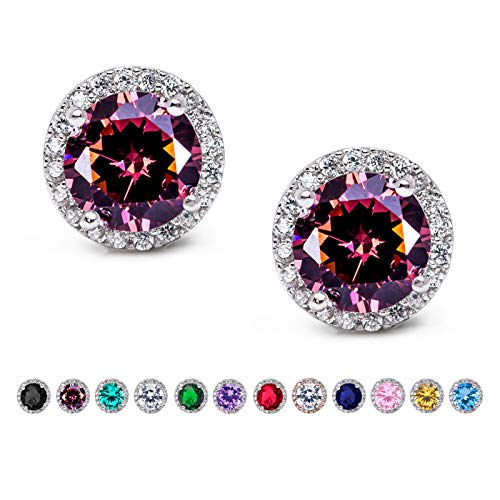 SWEETV Cubic Zirconia Stud Earrings, 10mm Round Cut, Rhinestone Hypoallergenic Earrings for Women & Girls, Purple
